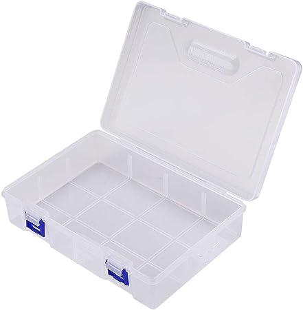 Sourcingmap - Caja de almacenamiento de plástico transparente con separador de piezas para joyas, aretes, aretes, herramientas, anzuelos, accesorios pequeños, plástico, 23 x 16cm: Amazon.es: Hogar