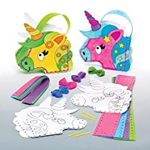 Baker Ross- Kits de costura para coser y colorear bolsos de unicornio (Pack de 4), Actividad de manualidades infantiles con piezas de fieltro para coser