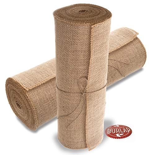"Burlap Table Runners  14"" Wide X 10 Yards Long Burlap Roll  Burlap Fabric Rolls A NOFRAY Burlap Runner with OVERLOCKED and Sewn Edges for Rustic Weddings Decorations and Crafts"
