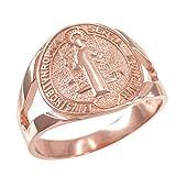 14K Rose Gold Saint Benedict Medallion Ring (Size 11)