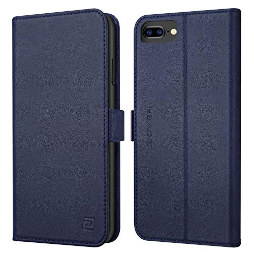 iPhone 8 Plus case iPhone 7 Plus case ZOVER Genuine Leather Case Wallet Cover with Kickstand Feature Card Slots & ID Holder and Magnetic Closure for iPhone 7 Plus iPhone 8 Plus Navy Blue