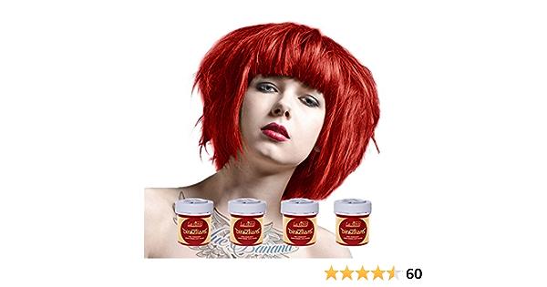 Tinte capilar de La Riche Directions Pack de 4 botes (Pillarbox Red - rojo pintura) Incluye un brocha con peine Blue Banana gratis