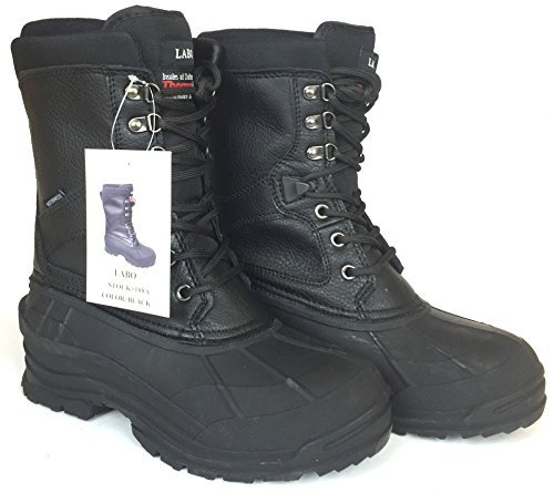 LABO Men's 10'' Winter Snow Hunting Boots Shoes Waterproof Insulated 108 BLACK-11