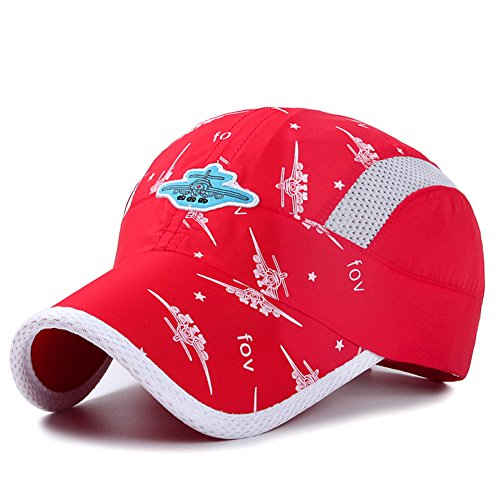 Home Prefer Kids Boys Lightweight Quick Drying Sun Hat Outdoor Sports UV Protection Caps Mesh Side Ball Cap Red -