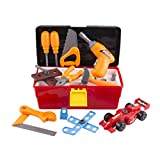 Tool Toy Set Pretend Play 44 Pieces with Electronic Drill, Construction Kit Accessories, Tools Box, F1 Car DIY and Hammer Wrench for Boys Age 3,4,5,6,7,8