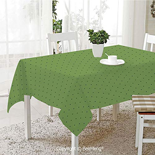 (Large dustproof Waterproof Tablecloth,Family Table Decoration,Green,Vintage Retro Pop Art Style 50s 60s Inspired Popular Polka Dots Artwork,Fern Green and Black,70 x 104)