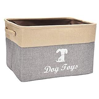 Linen Storage Basket Bin Chest Organizer - Perfect for Organizing Dog Toys Storage, Dog Shirts, Dog Coats, Dog Toys, Dog Clothing, Dog Dresses, Gift Baskets - Gray