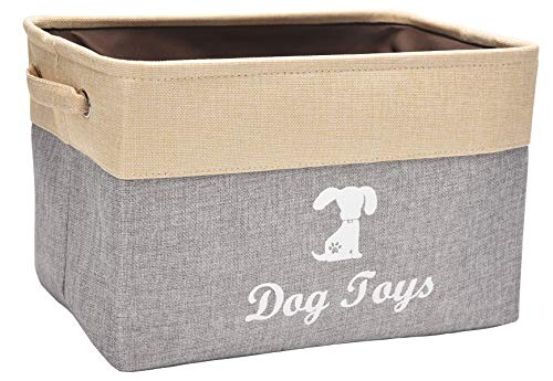 Morezi Canvas Pet Toy and Accessory Storage Bin, Basket Chest Organizer - Perfect for Organizing Pet Toys, Blankets, Leashes and Food - Beige Gray
