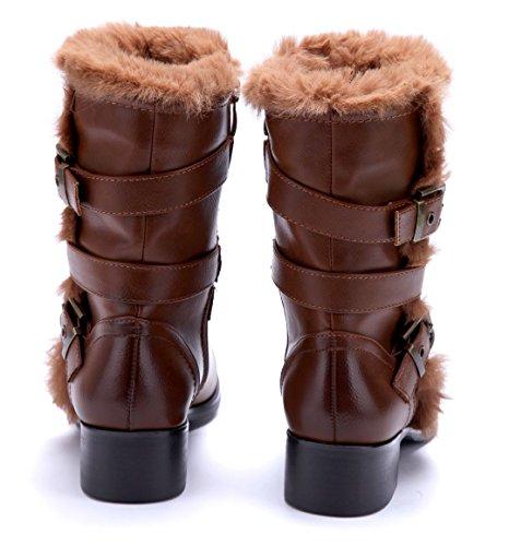 Schnalle Winterstiefeletten Schuhtempel24 cm 4 Blockabsatz Camel Boots Damen Schuhe Stiefel ffqAaF