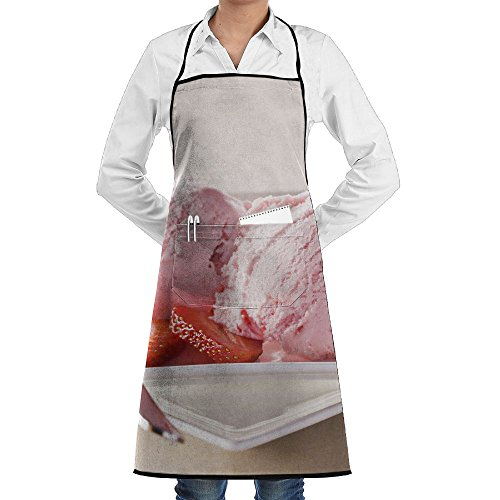 SmallTing Strawberry Ice Cream With Fruits Close Up Canvas Craftsmen Black One Size Apron With Pockets Adjustable