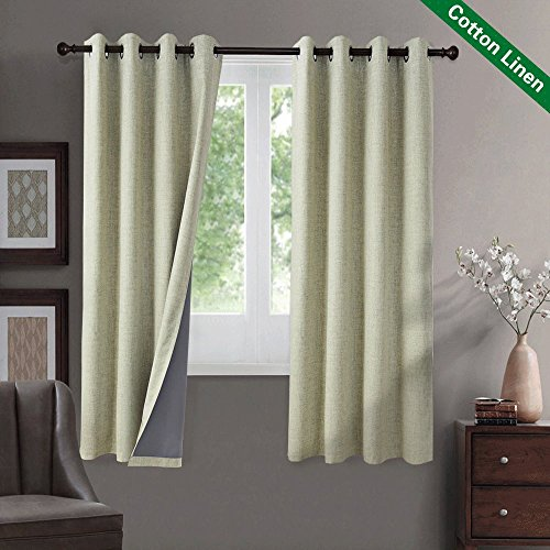 GIAERD Set of 1 Pair 100% Blackout Thermal Insulated Panel Curtains Grommet Ring Top for Living Room Bedroom 52 Wide by 63 Long Inches Cotton and Linen,Sage Green - Pair Thermal Insulated Cotton Curtains