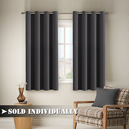 Flamingo P Easy Care Solid Thermal Insulated Grommet Room Darkening Curtains /Drapes for Bedroom Single Panel 63 by 52 Deep Gray & Gray Bedroom: Amazon.com