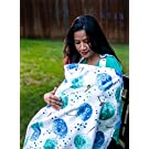 Baby Nursing Cover for Breastfeeding Babies with Privacy Neckline. 100% Breathable Breastfeeding Cover Cotton.. (Alee)