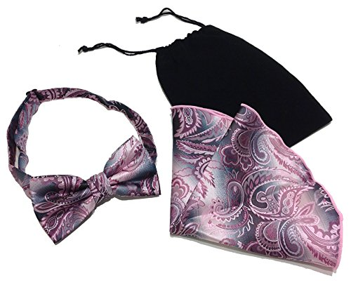 74a2c93a41f1 Men's Black & Pink Paisley Holiday Banded Formal Novelty Bow Tie & Matching  Pocket Hanky Set & Gift Bag