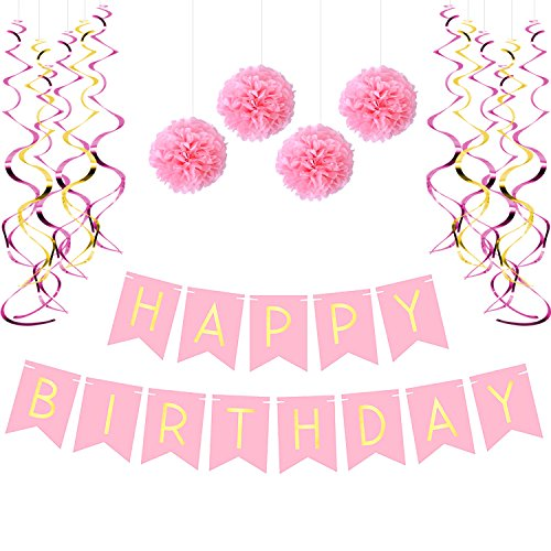Birthday Party Pack – Pastel Pink Happy Birthday Bunting, Poms, and Swirls Pack- Birthday Decorations - 21st - 30th - 40th - 50th Birthday Party