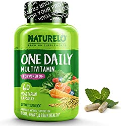 NATURELO One Daily Multivitamin for Women 50+ (Iron Free) – Menopause Support for Women Over 50 – Whole Food Supplement…