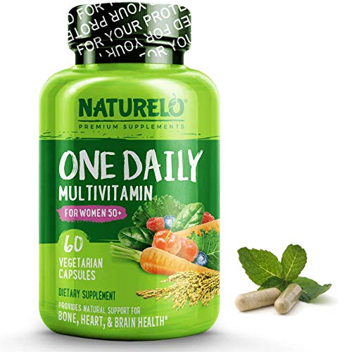 NATURELO One Daily Multivitamin for Women 50+ (Iron Free) – Natural Menopause Support – Best for Women Over 50 – Whole Food Supplement – Non-GMO – No Soy – 60 Capsules | 2 Month Supply