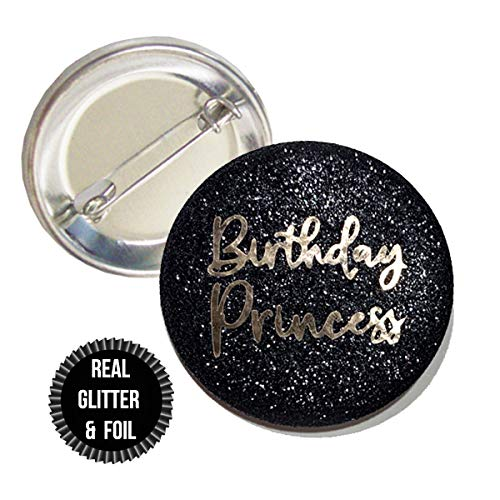 (1 Piece Birthday Princess Real fine Sparkly Glitter badge pin pinback button birthday girl sweet 16 18th 21st 30th party favors gift)