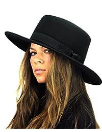 NYFASHION101 Wool Wide Brim Porkpie Fedora Hat w/Simple Band Accent
