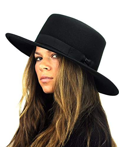 (NYFASHION101 Wool Wide Brim Porkpie Fedora Hat w/Simple Band Accent - Black)