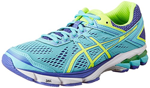 ASICS Women's GT-1000 4 Turquoise, Flash Yellow and Acai Running...