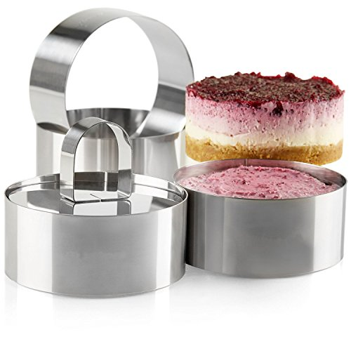 Ring Mold - Uncle Jack Professional Stainless Steel Food Tower Presentation Cooking Rings with Food Press-Round Forms(set of 2)