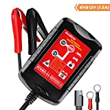 Audew Car Battery Charger Fully Automatic Battery Charger Maintainer, 6V/12V 1.5Amp Auto Trickle Charging for Car Motorcycle Lawn Mower RV SLA ATV AGM Lead Acid Batteries