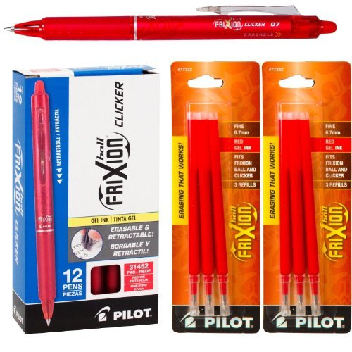 Pilot FriXion Clicker Retractable Gel Ink Pens, Eraseable, Fine Point 0.7mm, Red Ink, Pack of 12 with Bonus 2 Packs of Refills
