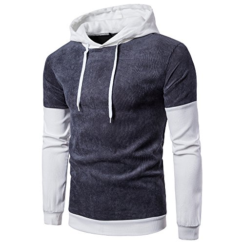 Men Long Sleeve Hoodie Stitching Coat Jacket T-Shirt Slim Outwear Sport Tops (L, Gray) ()