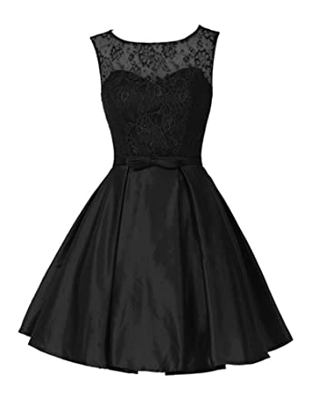 Yougao Womens A Line Lace Floral Short BowKnot Homecoming Cocktail Party Dress US 2 Black