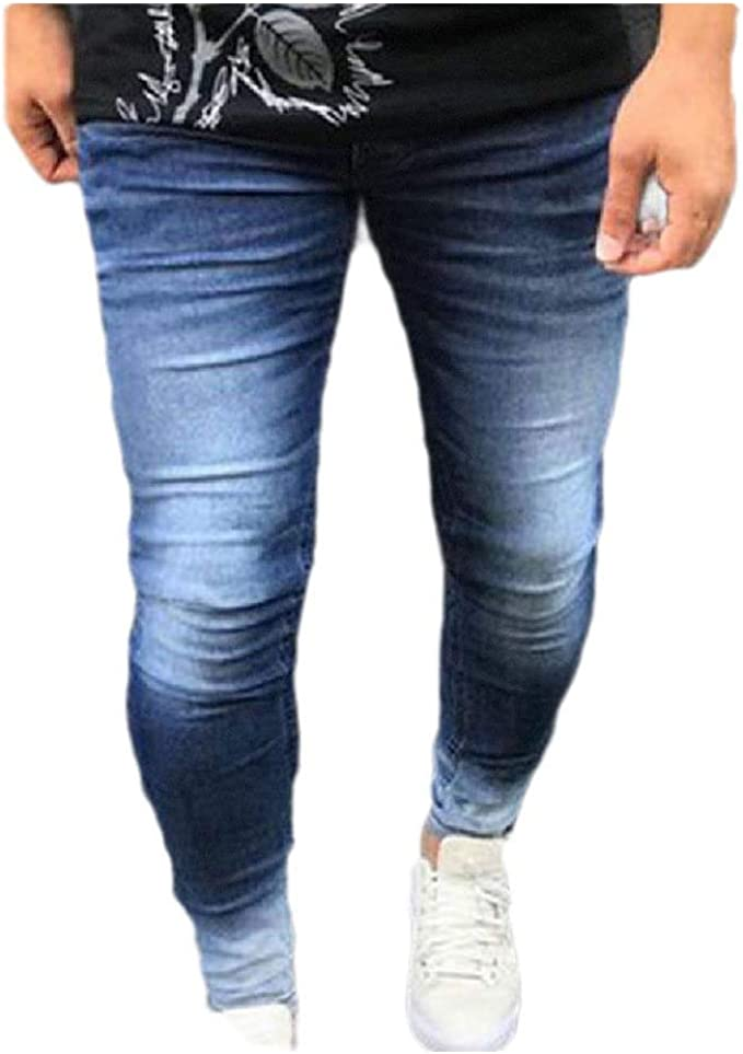 AngelSpace Men Washed Relaxed Fit Slim-Fit Mid Waist Denim Pants with Pockets