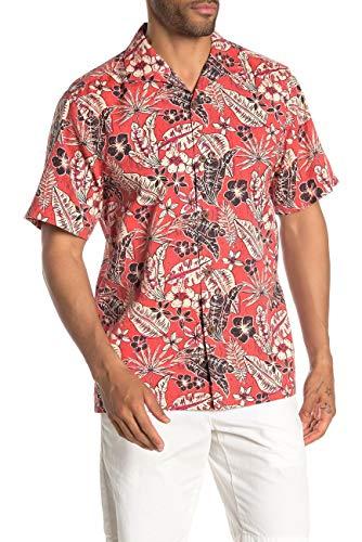 Tommy Bahama Baja Batik Silk Blend Camp Shirt (Color: Red Tulip, Size XXL)