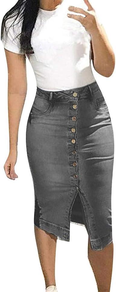 AMhomely - Falda de Mezclilla para Mujer, diseño de botón de ...