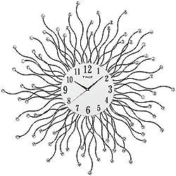 WGDAV Creative Wall Clock Quiet Quartz Clock, Round Sunburst Metal Wall Clock, Hanging Wall Spiral Diamond Clock