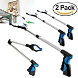 Procellatech 2 Pack - Reacher Grabber Pick up Tool, 32'' Foldable Lightweight Long Duty Mobility Aid, Extender Gripper Tool, Claw Trash Garbage Picker (2 Pack Blue)