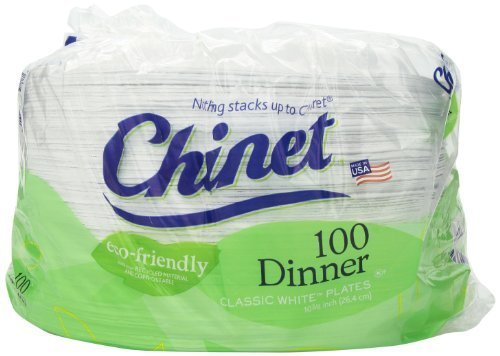 Chinet 10-3/8 Eco-friendly Dinner Plates, 300-count by Chinet
