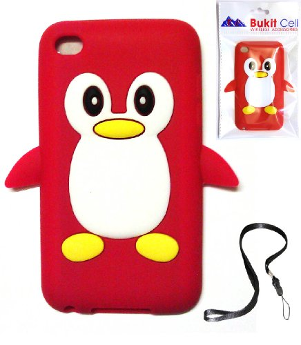 Apple IPOD TOUCH 4 4G 4TH GENERATION (ITOUCH 4 8GB 16GB 32GB) Red Penguin Silicone Silicon Case Cover + Free WirelessGeeks247 Detachable Neck Strap / Lanyard