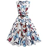 liberalism Summer Butterfly Printing Bodycon Sleeveless Evening Party Prom Swing Dress with Belt Women's Small