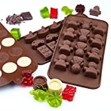 Candy Molds Silicone, Chocolate Jello and Ice Molds, 3-Pack Set, Non-Stick with Choice of Three Colors, Brown, Purple or Green, 3 Designs Per Pack, Animals, Swirls and Flower Patterns