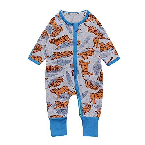 - Kids Tales Baby Tiger Footed Zipper Pajama Sleeper Cotton Romper(Age 4-24M)