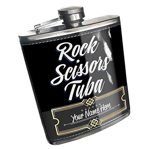 Neonblond Flask Classic design Rock Scissors Tuba Custom Name Stainless Steel ()