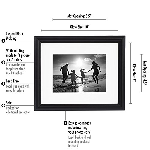 Amazon.com - 8x10 Black Picture Frame - Made to Display Photographs ...