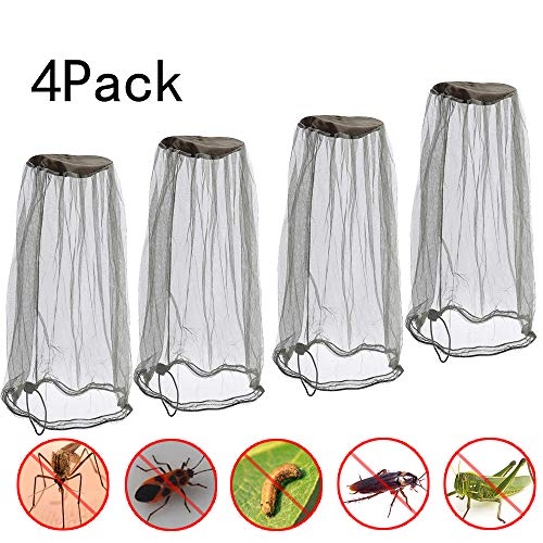 Premium Mesh Mosquito Head Net Bug Face Netting Bucket Insect Repellent Fly Screen Protection Netting, Hiking, Traveling, Fishing Beekeeping and Gardening Protection for Any Outdoor Lover Pack of 4