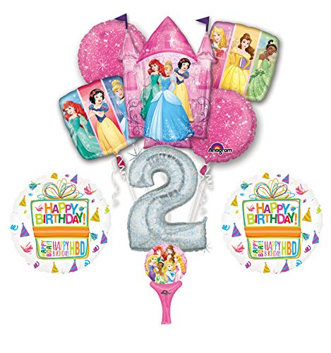 New! 9pc Disney Princess 2nd BIRTHDAY PARTY Balloons Decorations Supplies -