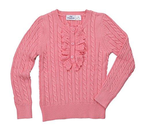 Ms Purple Girls' 100% Cotton Ruffle Sweater Large Pink