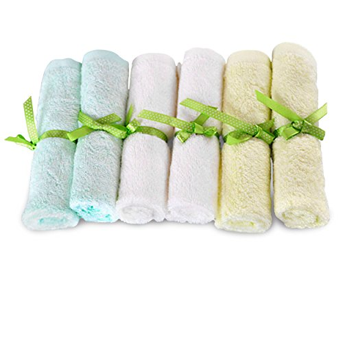Brooklyn Bamboo | Baby Washcloth Wipes | Extremely Soft & Absorbent | Extra Durable & Hypoallergenic | 6 Pack Set | 10 x 10 Inches | Assorted Colors