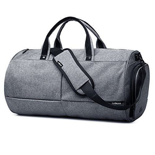 LYCSIX66 Canvas Gym Duffle Bag with Shoe Compartment Water Resistant Travel Duffel Weekender Bag for Men Women, Grey For Sale