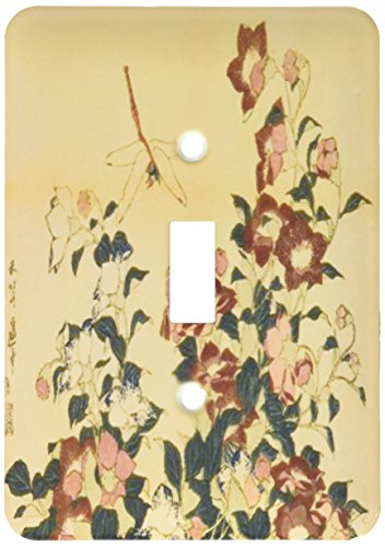 3dRose lsp_163294_1 Image of Japanese Painting of Teal Yellow Flowers with Dragonflies Light Switch Cover