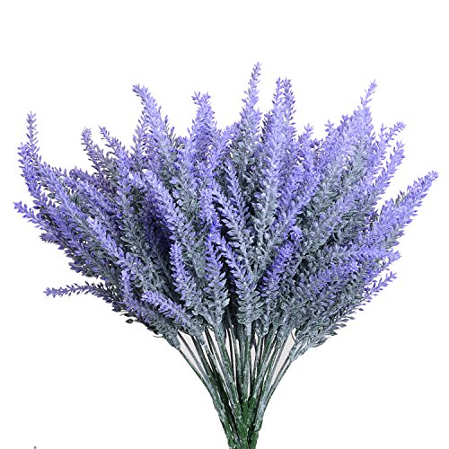 (Aplstar Artificial Flowers Lavender Bouquet in Purple Artificial Plant for Home Decor, Wedding,Garden,Patio Decoration,4 Bundles)