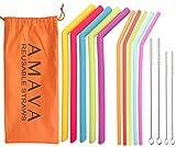 Regular & Jumbo Size Reusable Silicone Straws 10 Pcs + 4 Brushes, 5 Jumbo Flex Straws for Smoothies & 5 Regular Flex Drinking Straws + Storage Pouch- Eco Friendly- Yeti/RTIC Tumbler Compatible